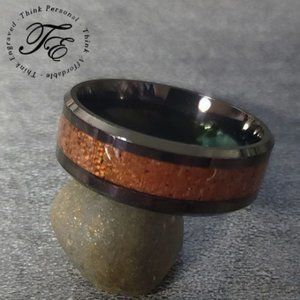 Men's Promise Ring or Wedding Band Wood Inlay